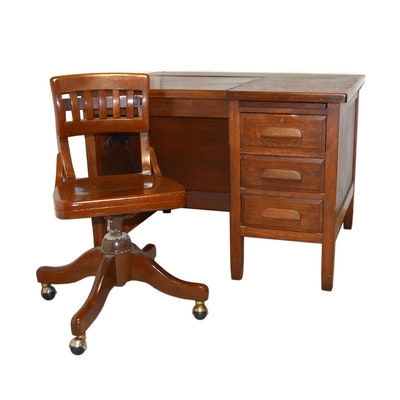 Oak Library Desk with Storage Well with Chair, Late 20th Century