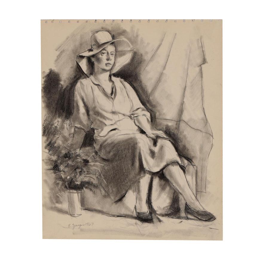 Edgar Yaeger Charcoal Portrait of Woman