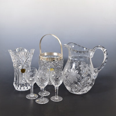 Crystal Pitcher, Ice Bucket, Vase and Other Crystal