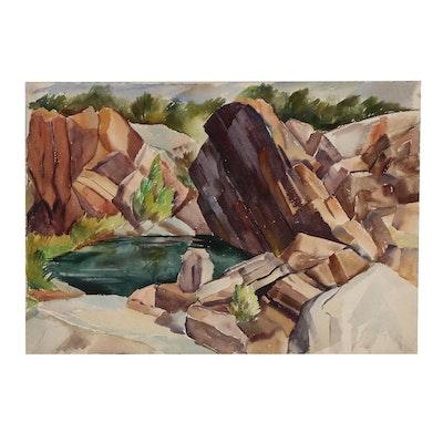 Arthur Helwig Landscape Watercolor Painting