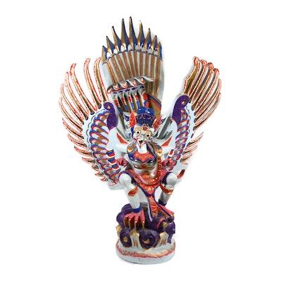 Hand Painted Carved Garuda Sculpture, Vintage