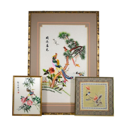 Chinese Bird and Flower Silk Embroidery Panels