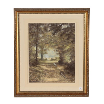 "Don Kinrade Pastel Drawing of Landscape ""Autumn Sunshine"""