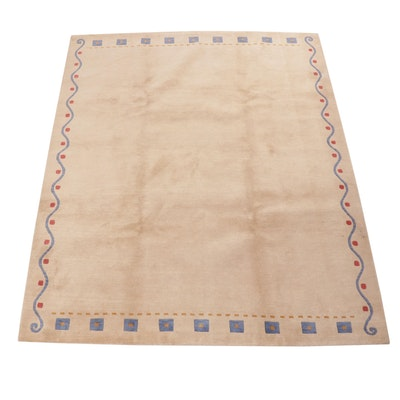 6'6 x 8'2 Hand-Knotted Indo-Persian Gabbeh Rug
