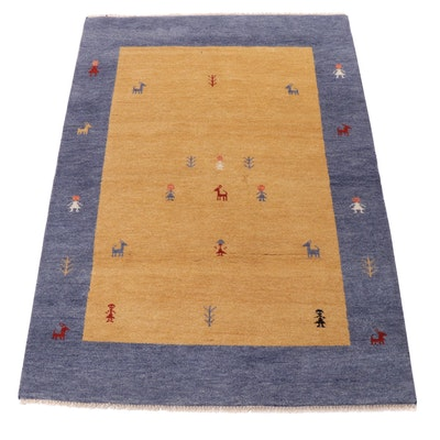 5' x 7'1 Hand-Knotted Indo-Persian Gabbeh Pictorial Rug