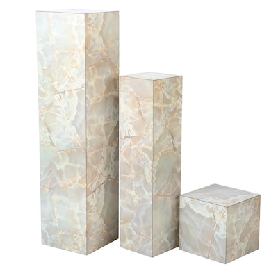 Faux Marble Veneer Pedestal Display Columns, Contemporary