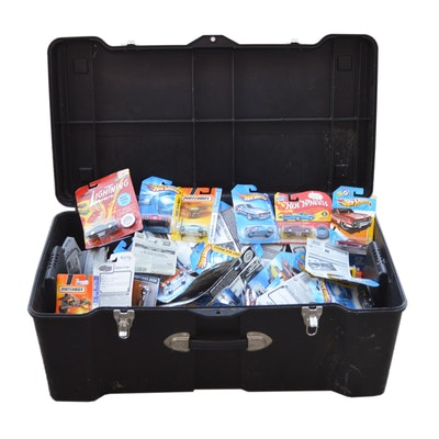 Hot Wheels and Matchbox Diecast Cars in Chest