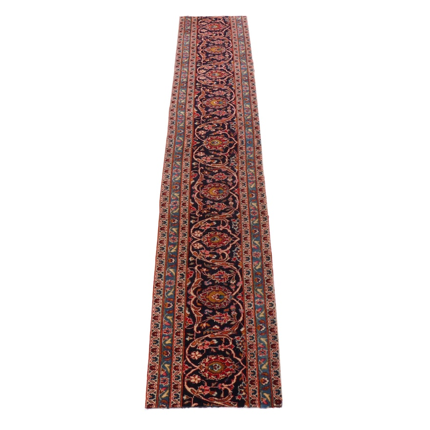 1'10 x 10'7 Hand-Knotted Persian Kashan Wool Runner Remnant, 1970s