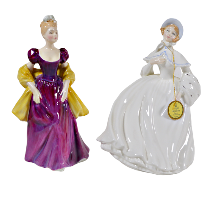 "Royal Doulton ""Jessica"" and ""Loretta"" Porcelain Figurines"