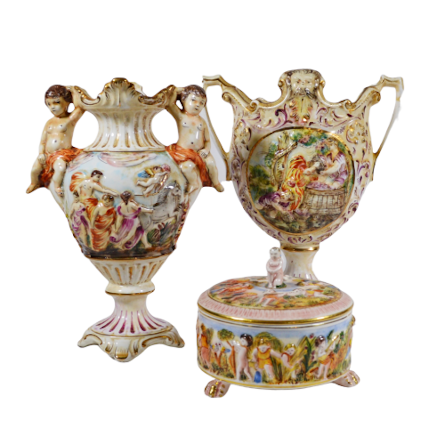 Capodimonte Hand Painted Porcelain Vases and Other Porcelain Vanity Box, Vintage