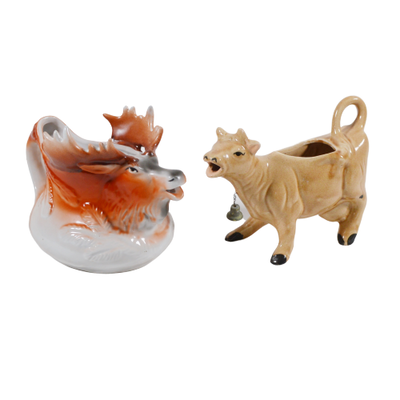 Ceramic Cow and Moose Creamers, Vintage
