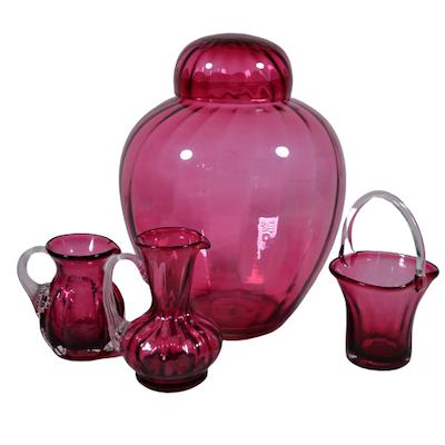 Pilgrim Glass Co. Cranberry Ginger Jar, Jugs and Basket, Vintage