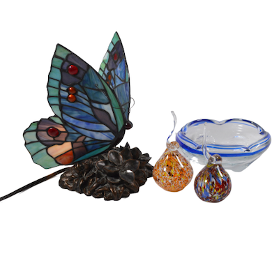 Stained Glass Butterfly Night Light, Art Glass Ring Holder and Other Art Glass