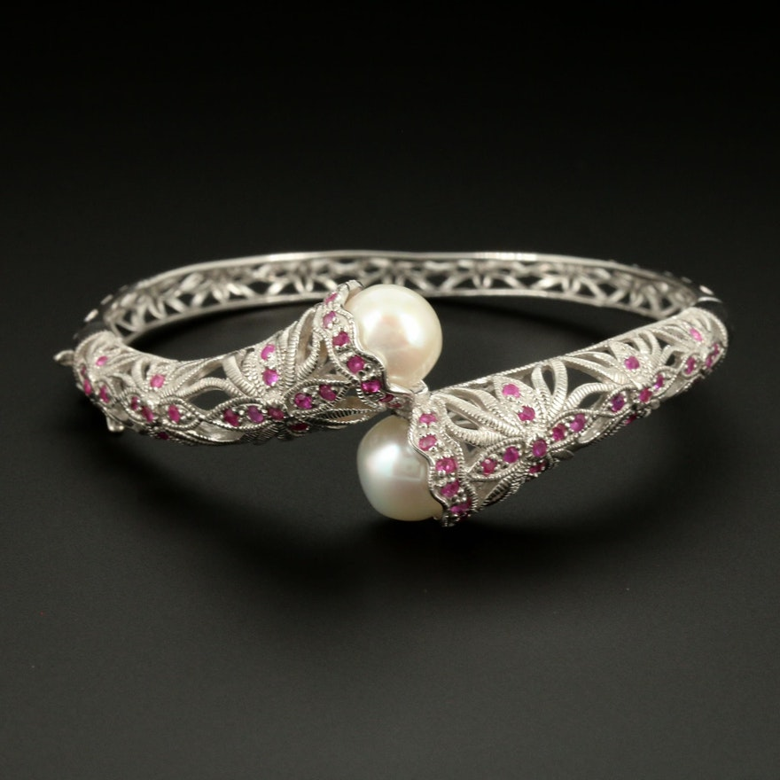 Sterling Silver, Cultured Pearl and Ruby, Hinged ByPass Bangle Bracelet