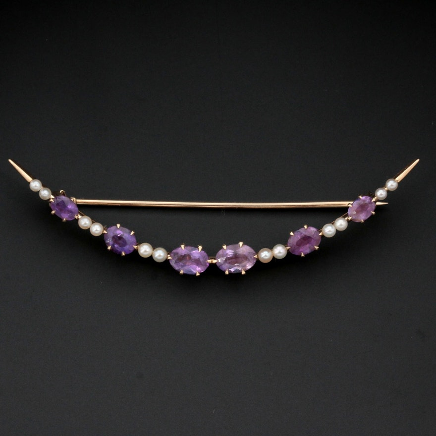Circa 1910 14K Yellow Gold Amethyst and Seed Pearl Crescent Brooch