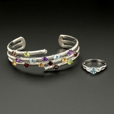 Sterling Silver Ring and Cuff Bracelet Featuring Topaz, Ametrine and Citrine