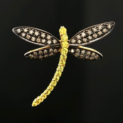 18K Yellow Gold Fancy Sapphire and Diamond Dragonfly Converter Brooch