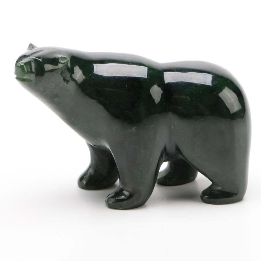 Carved Soapstone Polar Bear Figurine