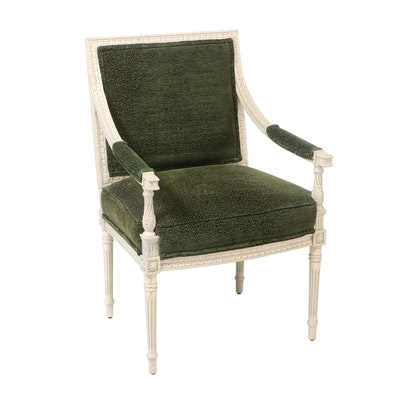 Louis XVI Style Crackle Lacquer Finish Upholstered Arm Chair, Late 20th Century