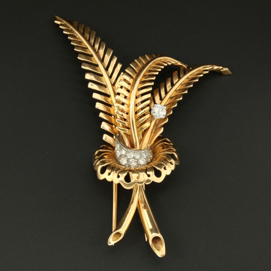 18K Yellow Gold Diamond Fern Converter Brooch with Platinum Accent