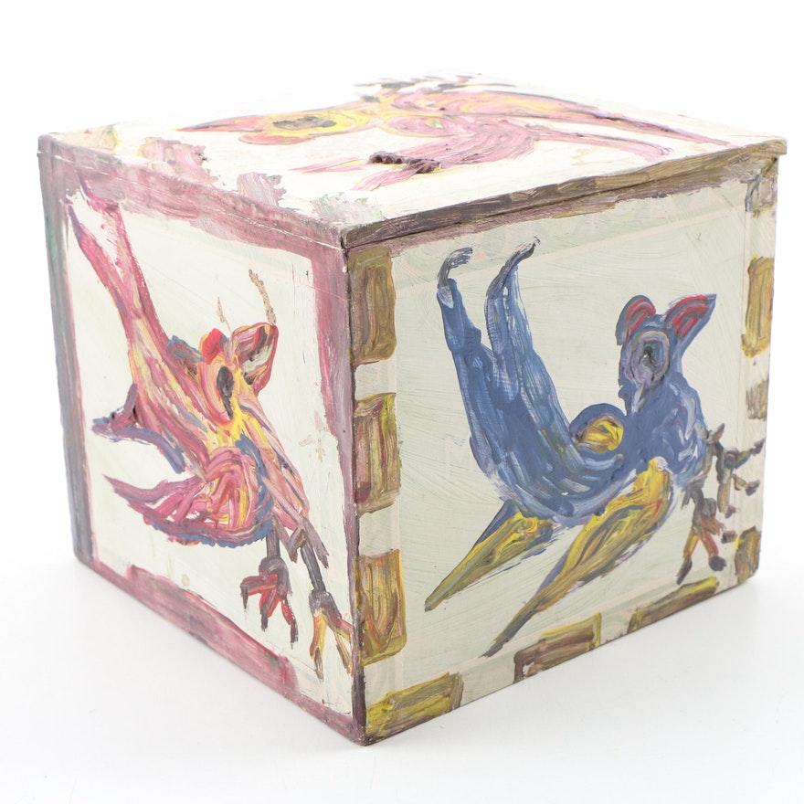 Robert Wright Acrylic Painting on Cigar Box