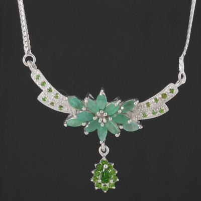 Sterling Silver Emerald and Diopside Necklace