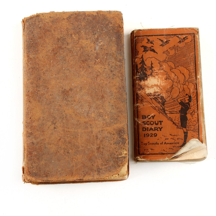 """1844 """"Daboll's Schoolmaster's Assistant"""" with """"Boy Scout Diary 1929"""""""