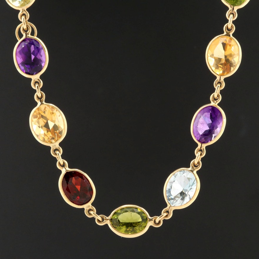 18K Yellow Gold Peridot, Topaz, Citrine, Amethyst and Garnet Necklace