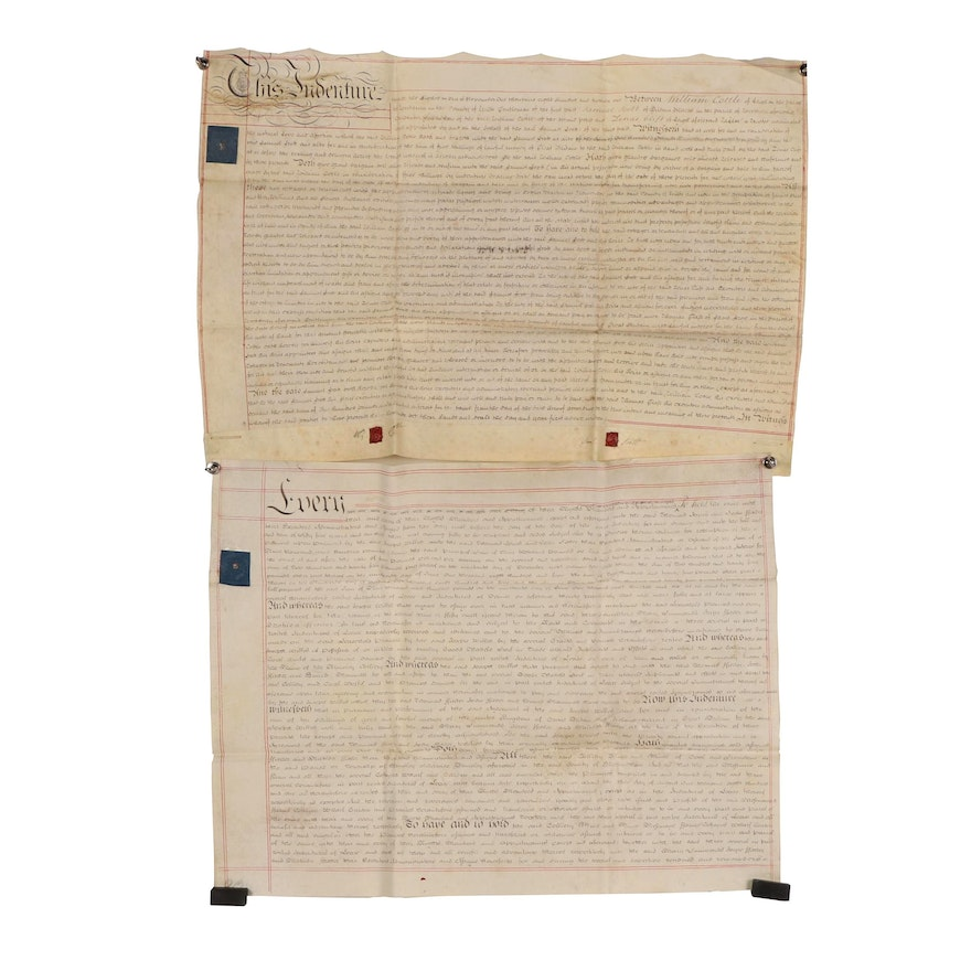 British Indenture Documents on Vellum with King George III Royal Cypher Stamps