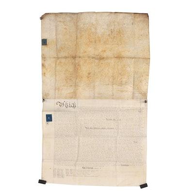 British Indenture Documents on Vellum with Revenue Stamps, 18th C. - 19th C.