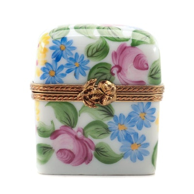 French Accents Limoges Porcelain Trinket Box with Miniature Perfume Bottles
