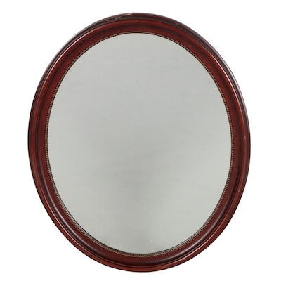 Kindel Funiture Wooden Oval Wall Mirror, 20th Century