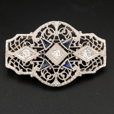 Edwardian 14K White Gold and Platinum Diamond and Blue Sapphire Brooch