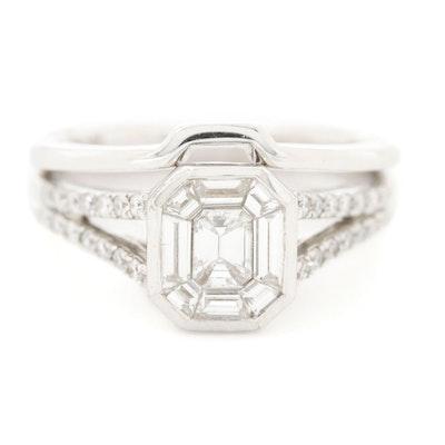 14K White Gold 1.13 CTW Diamond Ring Set