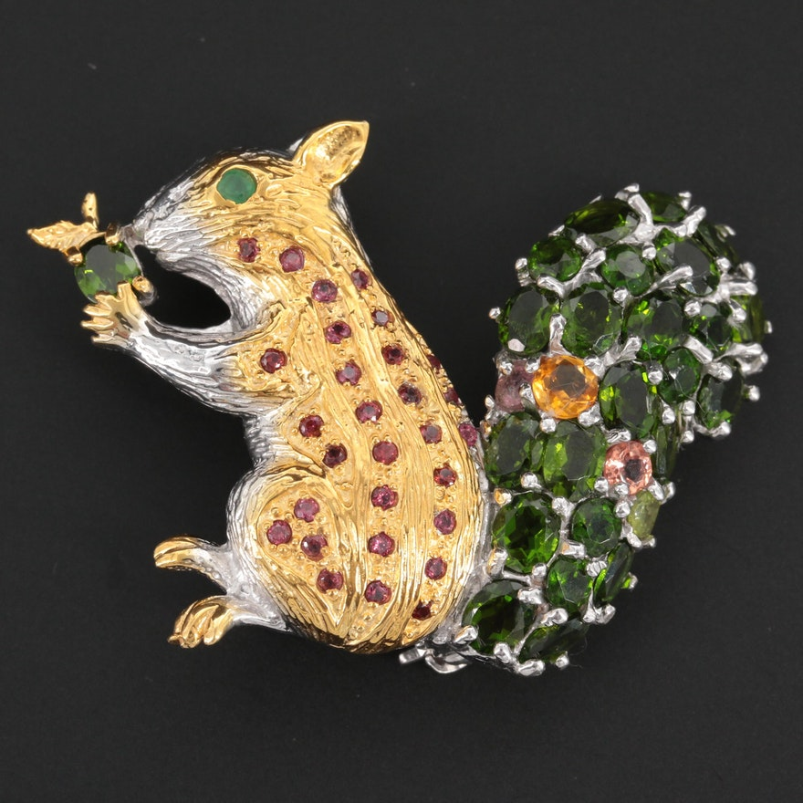 Sterling Silver Diopside, Tourmaline, and Emerald Squirrel Brooch