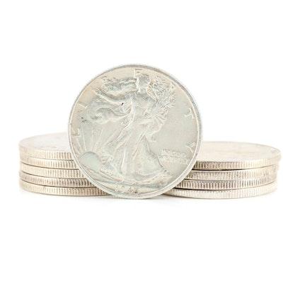 Ten Higher Grade Walking Liberty Silver Half Dollars