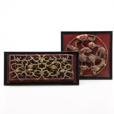 Chinese Lacquered and Giltwood Panel Carvings