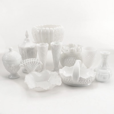 Fenton Style Milk Glass Vases, Bowls and Glasses