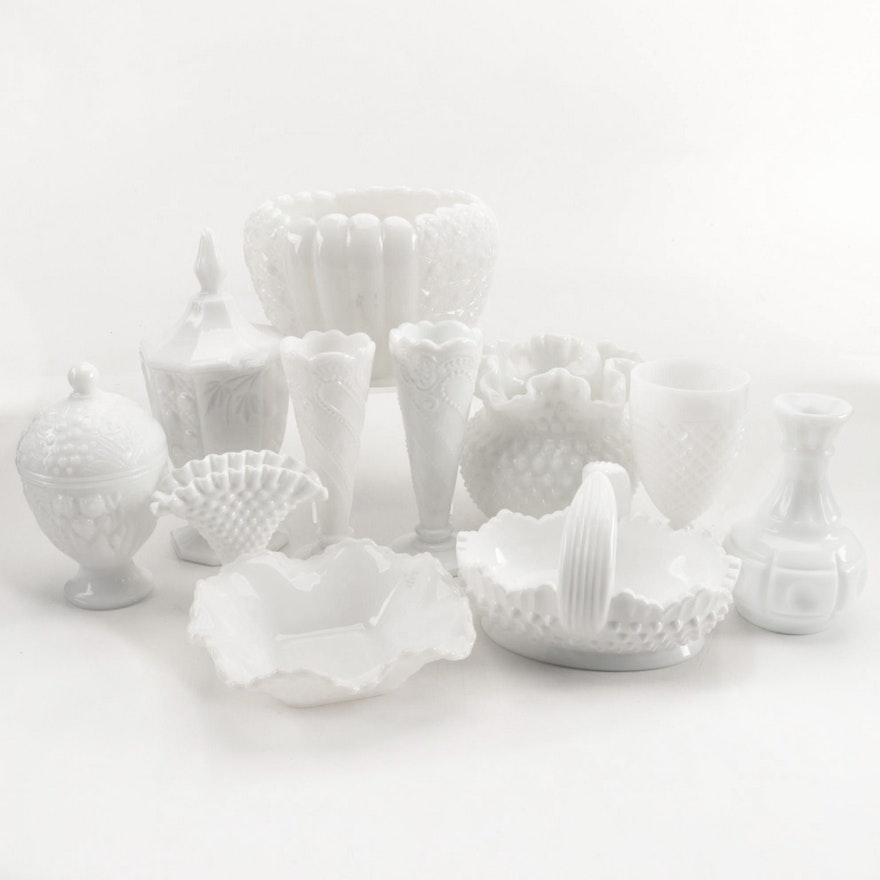 Fenton Style Milk Glass Vases, Bowls and Glasses
