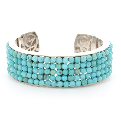 Whitney Kelly Sterling Silver Beaded Turquoise Cuff Bracelet