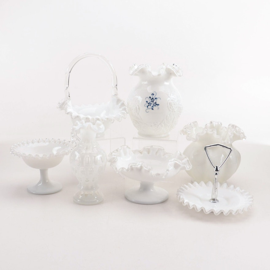 Fenton Style Milk Glass Vases and Bowls