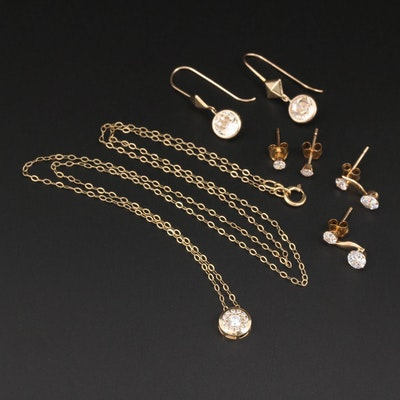 10K Yellow and White Gold, Cubic Zirconia, Faceted Glass Earrings and Necklace