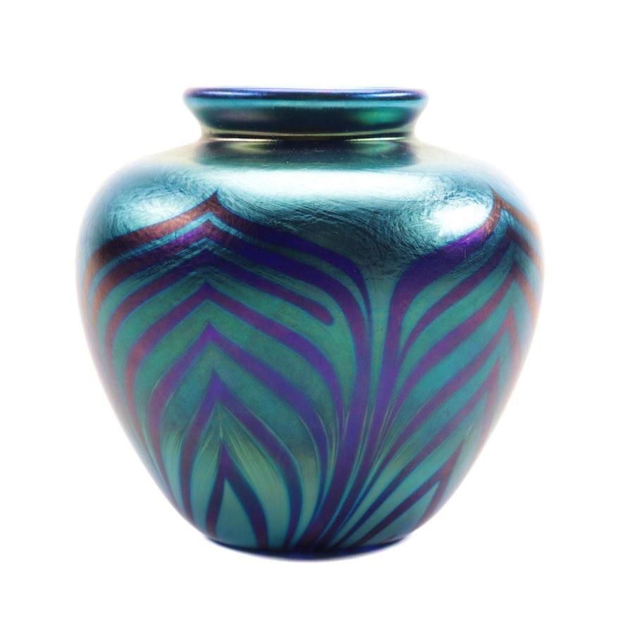 Don Richardson Feathered Irridescent Art Glass Bud Vase, 1991