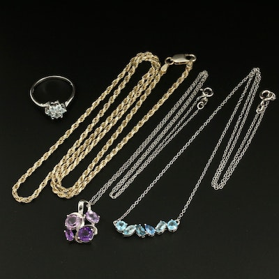 Sterling Silver Jewelry Featuring Blue Topaz and Amethyst