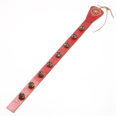 """Decorative Jingle Bells """"Greetings"""" Hanging Harness Collar With Compass Accent"""