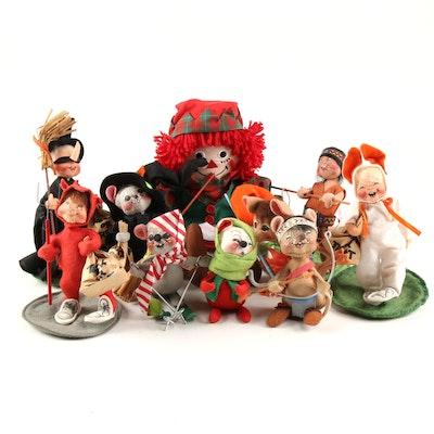 Annalee Holiday Themed Felt Dolls and Raggedy Ann Doll, Late 20th Century