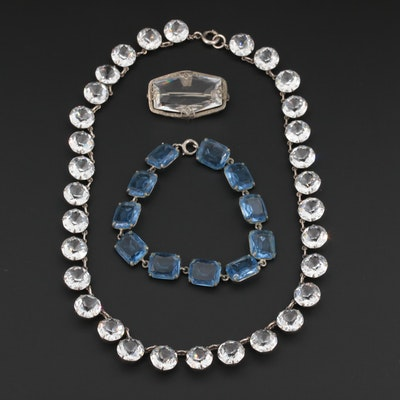 Art Deco Glass Brooch and Bracelet With Sterling Silver Necklace