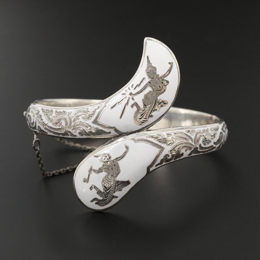 Vintage Thai Sterling Silver Enamel Bypass Bracelet