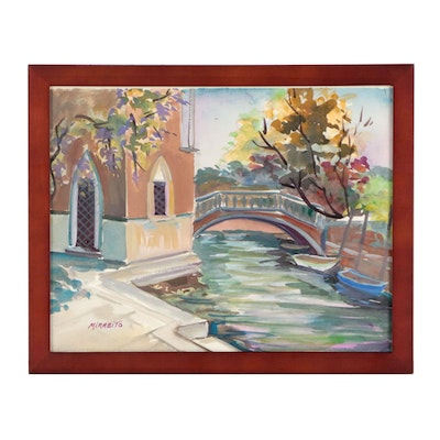 "Mary Mirabito Gouache Painting ""Venice View"""