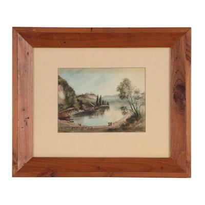 Landscape Watercolor Painting, 19th Century